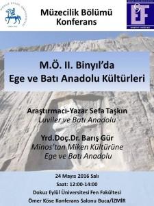 24 Mayıs 2016 M.Ö. İkinci Binyıl'da Ege ve Batı Anadolu Kültürleri